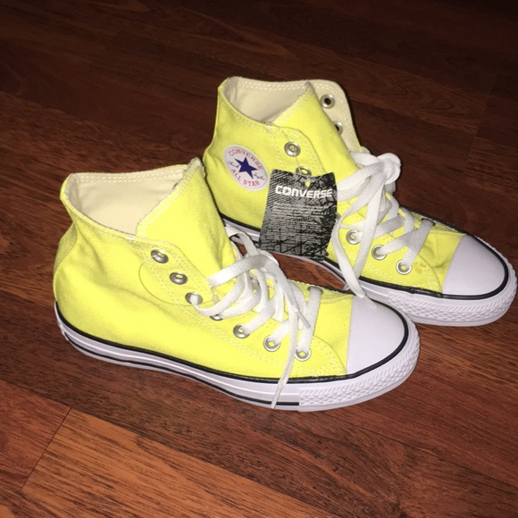 Yellow High Top Converse Mens 4 Womens